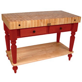 Cucina Rustica Kitchen Island 48'' W Work Table with Bottom Shelf, 4'' Thick End Grain Hard Maple Top, 48'' W x 24'' D, Barn Red