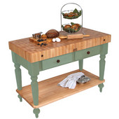 Cucina Rustica Kitchen Island 48'' W Work Table with Bottom Shelf, 4'' Thick End Grain Hard Maple Top, 48'' W x 24'' D, Basil Green