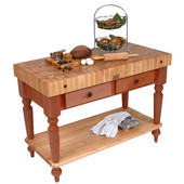 Cucina Rustica Kitchen Island 48'' W Work Table with Bottom Shelf, 4'' Thick End Grain Hard Maple Top, 48'' W x 24'' D, Cherry Stain