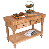 Cucina Rustica Kitchen Island 48'' W Work Table with Bottom Shelf, 4'' Thick End Grain Hard Maple Top, 48'' W x 24'' D, Natural Hard Maple