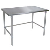 ST6-SB Series 16-Gauge Stainless Steel Flat Top Stallion Work Table 132'' W x 24'' D with Stainless Steel Legs and Bracing, Knocked Down