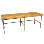 Baker's Production Table, 96'' W x 30'' D, Galvanized Frame, includes 6 Legs, with 2-1/4'' Thick Hard Rock Maple Wood Top, Penetrating Oil Finish