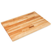 Commercial Grade 1-1/2'' Thick Hard Rock Maple Blended Bakers Table Top, Non-Reversible, Oil Finish, 12'' W x 25'' D