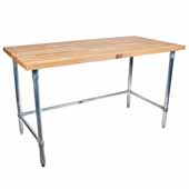 1-3/4'' Thick Blended Maple Top Work Table w/ Stainless Steel Base & Bracing, Varnique Finish, Variety of Sizes Available