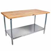 2-1/4'' Thick Blended Maple Top Work Table w/ Stainless Steel Base & Shelf, Varnique Finish, Various Sizes Available