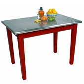 Kitchen Island Cucina Moderno with Stainless Steel Top, 48'' W x 24'' or 30'' D x 36''H, Barn Red