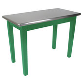 Kitchen Island Cucina Moderno with Stainless Steel Top, 48'' x 24'', Clover Green