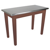 Kitchen Island Cucina Moderno with Stainless Steel Top, 48'' x 24'', Walnut Stain