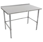 ST4R1.5-GB Series 14-Gauge Stainless Steel Top Work Table 132'' W x 30'' D with 1-1/2'' Riser, Galvanized Legs & Bracing, All Welded Set-up