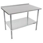 ST4R1.5-GS Series 14-Gauge Stainless Steel Top Work Table 144'' W x 36'' D with 1-1/2'' Riser, Adjustable Galvanized Legs & Shelf, Knocked Down
