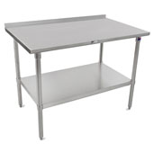 ST4R1.5-M-SS Series 14-Gauge Stainless Steel Top Work Table 48'' W x 30'' D with 1-1/2'' Riser, Marine Edge, Stainless Legs & Shelf, All Welded Set-up