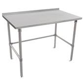 ST4R1.5-SB Series 14-Gauge Stainless Steel Top Work Table 108'' W x 36'' D with 1-1/2'' Riser, Stainless Legs & Bracing, All Welded Set-up