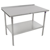 ST4R1.5-SS Series 14-Gauge Stainless Steel Top Work Table 120'' W x 36'' D with 1-1/2'' Riser, Stainless Legs & Shelf, All Welded Set-up