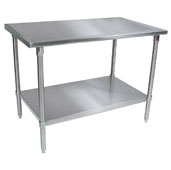 ST6-SS Series 16-Gauge Stainless Steel Flat Top Stallion Work Table 120'' W x 36'' D w/ Stainless Steel Legs & Shelf, All Welded Set-Up