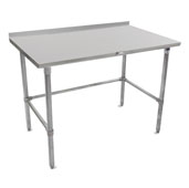 16-Gauge Stainless Steel Stallion Work Table 120'' W x 36'' D with 1-1/2'' Riser, Galvanized Legs and Lower Bracing, All Welded Set-Up