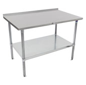 16-Gauge Stainless Steel Top Stallion Work Table 144'' W x 36'' D with 1-1/2'' Rear Riser, Galvanized Legs and Shelf, All Welded Set-Up