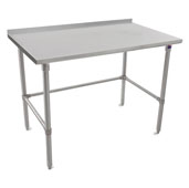 16-Gauge Stainless Steel Top Stallion Work Table 144'' W x 30'' D with 1-1/2'' Rear Riser, Stainless Steel Legs and Adjustable Bracing, Knocked Down