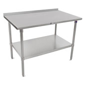 16-Gauge Stainless Steel Top Stallion Work Table 144'' W x 24'' D with 1-1/2'' Rear Riser, Stainless Steel Legs and Adjustable Shelf, Knocked Down