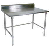 ST6R5-SB Series 16-Gauge Stainless Steel Top Stallion Work Table 144''W x 30''D w/ 5'' Riser, Stainless Steel Legs & Bracing, Knocked Down