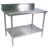 ST6R5-SS Series 16-Gauge Stainless Steel Top Stallion Work Table 108'' W x 36'' D w/ 5'' Riser, Stainless Steel Legs & Shelf, Knocked Down