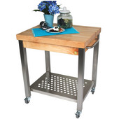 Cucina Technica Butcher Block Cart, 24'' or 30'', Available with 2-1/4'' Thick Maple Edge Grain Top