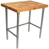 2-1/4'' Thick Blended Maple Top Work Table w/ Stainless Steel Base & Bracing, Oil Finish, Available in Numerous Sizes