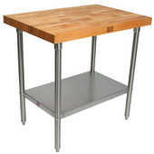 2-1/4'' Thick Blended Maple Top Work Table w/ Stainless Steel Base & Shelf, Oil Finish, Various Sizes Available