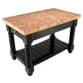 Tuscan Isle Maple End Grain Boos Butcher Block Kitchen Island, Caviar Black Base, 54'' W x 32'' D x 36''H