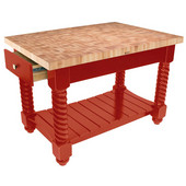 Tuscan Isle Maple End Grain Boos Butcher Block Kitchen Island, Barn Red Base, 54'' W x 32'' D x 36''H