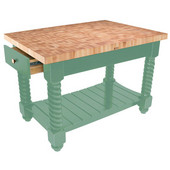 Tuscan Isle Maple End Grain Boos Butcher Block Kitchen Island, Basil Base, 54'' W x 32'' D x 36''H