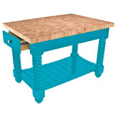 Tuscan Isle Maple End Grain Boos Butcher Block Kitchen Island, Caribbean Blue Base, 54'' W x 32'' D x 36''H