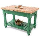 Tuscan Isle Maple End Grain Boos Butcher Block Kitchen Island, Clover Green Base, 54'' W x 32'' D x 36''H