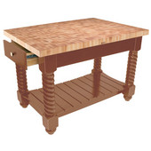 Tuscan Isle Maple End Grain Boos Butcher Block Kitchen Island, Warm Cherry Stain Base, 54'' W x 32'' D x 36''H
