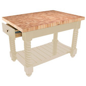 Tuscan Isle Maple End Grain Boos Butcher Block Kitchen Island, Natural Base, 54'' W x 32'' D x 36''H