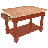 Tuscan Isle Maple End Grain Boos Butcher Block Kitchen Island, Spicy Latte Base, 54'' W x 32'' D x 36''H