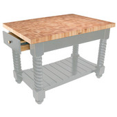 Tuscan Isle Maple End Grain Boos Butcher Block Kitchen Island, Useful Gray Stain Base, 54'' W x 32'' D x 36''H