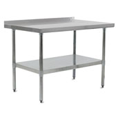 E-Series 96'' W x 18'' D Economy Work Table with 18-Gauge Stainless Steel Top, 1-1/2'' Rear Riser, Galvanized Legs and Adjustable Shelf
