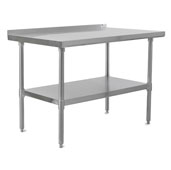 E-Series 96'' W x 18'' D Economy Work Table with 18-Gauge Stainless Steel Top, 1-1/2'' Rear Riser, Stainless Steel Legs and Adjustable Shelf