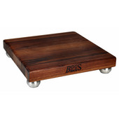Gift Collection Square Cutting Board 12'' L x 12'' W x 1-1/2'' with Stainless Steel Bun Feet, Walnut Edge Grain, Sold Individually or in a Set