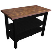 Blended Walnut Classic Country Work Table, 36'', 48'', or 60'' W x 25'' D x 35''H, 2 Shelves, Black