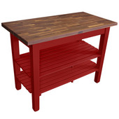 Blended Walnut Classic Country Work Table, 36'', 48'', or 60'' W x 25'' D x 35''H, 2 Shelves, Barn Red