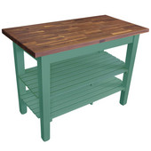 Blended Walnut Classic Country Work Table, 36'', 48'', or 60'' W x 25'' D x 35''H, 2 Shelves, Basil