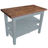 Blended Walnut Classic Country Work Table, 48'' or 60'' W x 30'' D x 35''H, 2 Shelves, Slate Gray