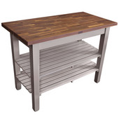 Blended Walnut Classic Country Work Table, 48'' or 60'' W x 36'' D x 35''H, 2 Shelves, Useful Gray Stain