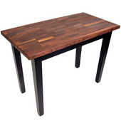 Blended Walnut Classic Country Work Table, 36'', 48'', or 60'' W x 25'' D x 35''H, Black