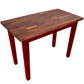 Blended Walnut Classic Country Work Table, 36'', 48'', or 60'' W x 25'' D x 35''H, Barn Red
