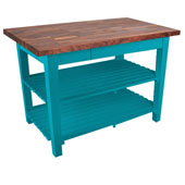 Blended Walnut Classic Country Work Table, 48'' or 60'' W x 36'' D x 35''H, 2 Shelves, Caribbean Blue