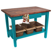 Blended Walnut Classic Country Work Table, 36'', 48'', or 60'' W x 25'' D x 35''H, 1 Shelf, Caribbean Blue