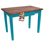 Blended Walnut Classic Country Work Table, 48'' or 60'' W x 36'' D x 35''H, Caribbean Blue