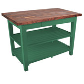 Blended Walnut Classic Country Work Table, 48'' or 60'' W x 30'' D x 35''H, 2 Shelves, Clover Green